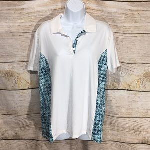 Coral Bay Golf shirt White with turquoise PL 632
